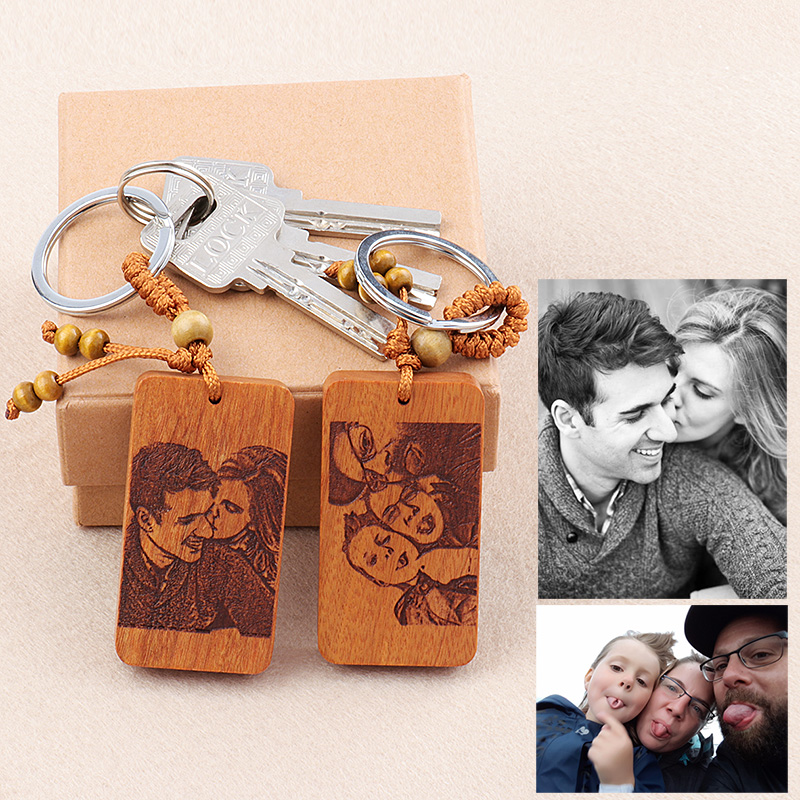 Personalized photo wooden keychain