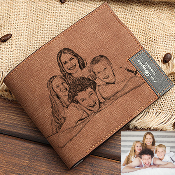 Personalized Photo Men's Light Brown Wallet